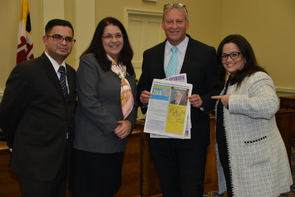 Christian Licier, Carol Ramirez, Erick Oribio y Angelette Aviles comparten la columna quincenal del Gobernador de Maryland Larry Hogan en Latin Opinion Baltimore News.