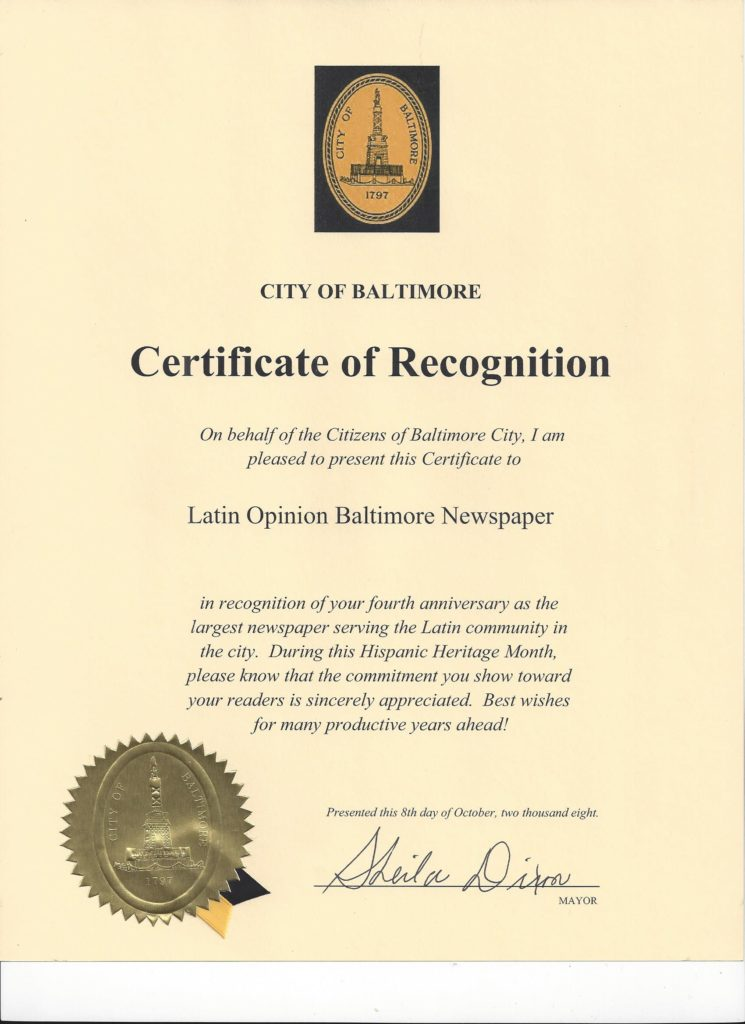 Certificate of Recognition from City of Baltimore, October 2008