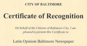 Certificate of Recognition from City of Baltimore, October 2008B