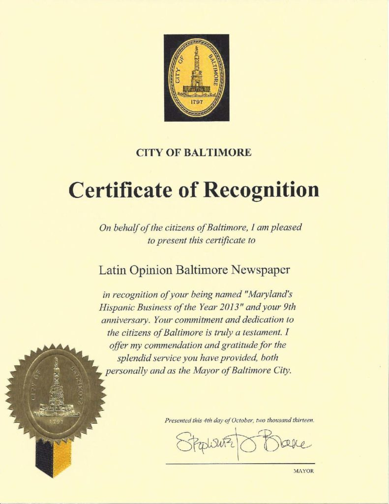 Certificate of Recognition from City of Baltimore, October 2013