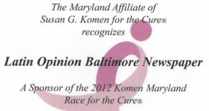 Certificate of Recognition from The Maryland Affiliate of Susan G. Komen for be a Sponsor of the 2012 Komen Maryland Race for the CureB