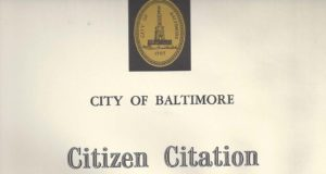 Citizen Citation from City of Baltimore, October 2005B