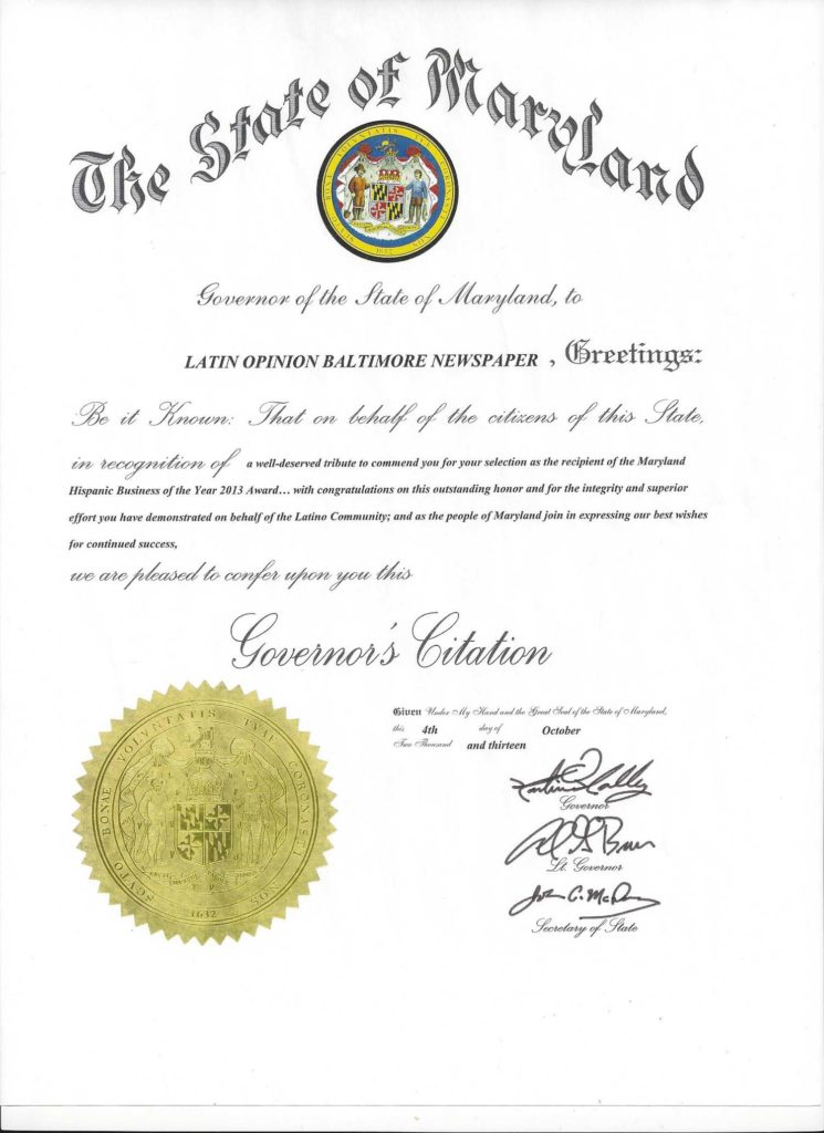 Governor's Citation from Governor of State of Maryland, October 2013