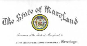 Governor's Citation from Governor of State of Maryland, October 2013B