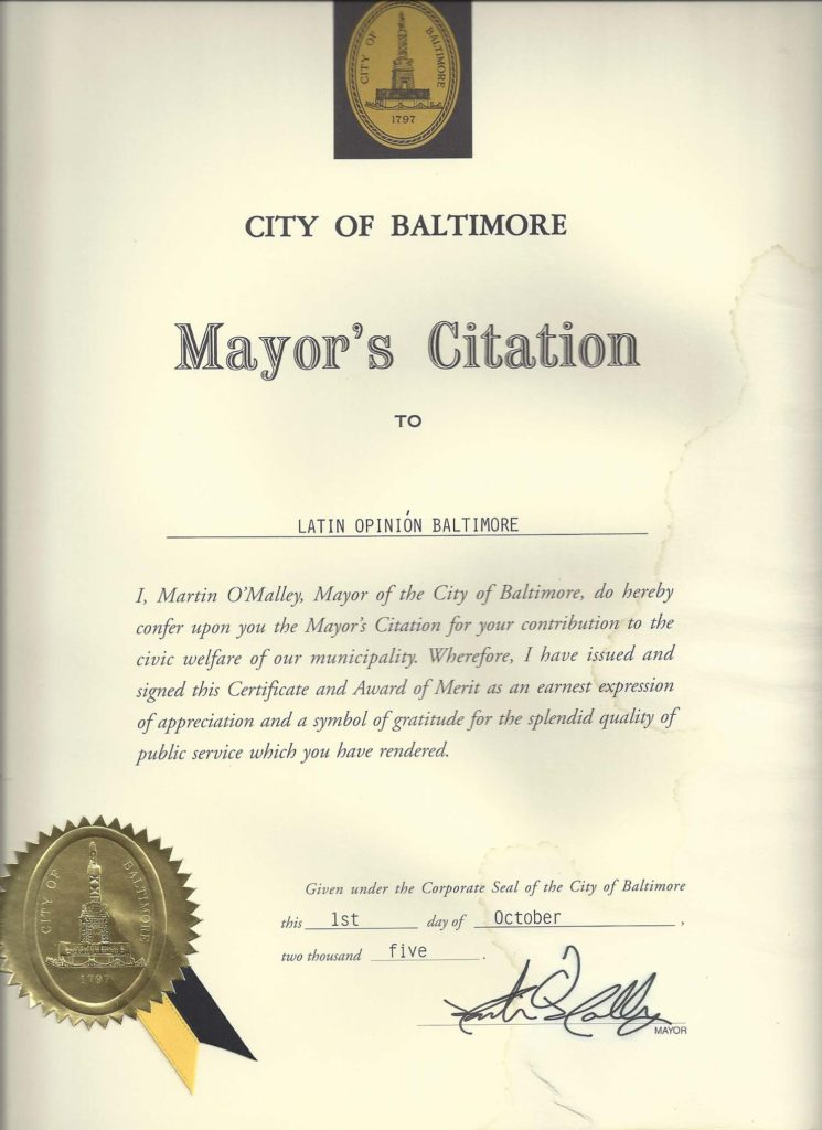 Mayor's Citation from City of Baltimore, October 2005