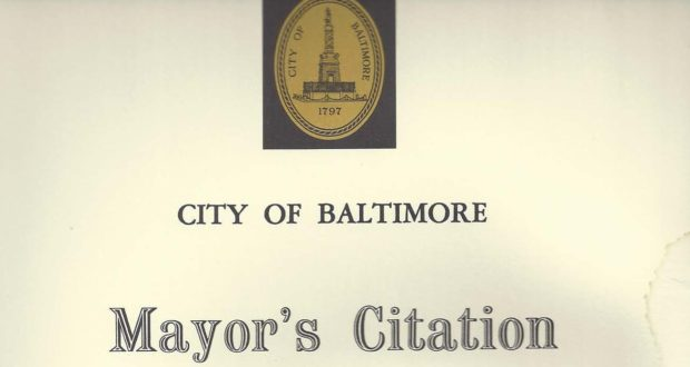 Mayor's Citation from City of Baltimore, October 2005B