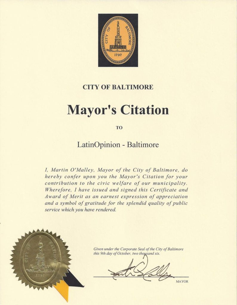 Mayor's Citation from City of Baltimore, October 2006