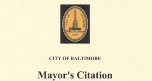 Mayor's Citation from City of Baltimore, October 2006B